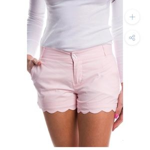 Preppy pink scallop trim shorts